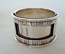 UNUSUAL ANTIQUE RAJ / INDIAN c1900 SOLID SILVER NAME CARD HOLDER / NAPKIN RING