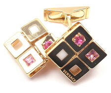 AUTHENTIC! VERSACE 18k YELLOW GOLD PINK SAPPHIRES CUFFLINKS