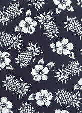 PINEAPPLES & HIBISCUS: Navy Blue Tropical Floral Fabric (By the Half Yard)