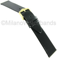 22mm Hirsch Diamond Calf Genuine Leather Black Unstitched Mens Watch Band