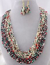 Turquoise Red Black Seed Bead Mix Necklace Earring Set Fashion Jewelry New Gold