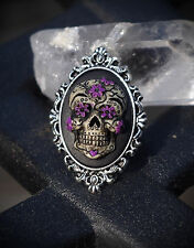 Silver Tone Sugar Skull Day of the Dead Dia De Los Muertos Adjustable Ring Goth