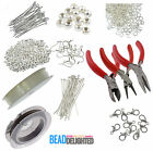 Jewellery Making Starter Kit Silver Plated Findings Tigertail Head Pins Tool Set