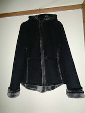 LADIES NEXT FAUX SUEDE AND FUR BLACK AND GREY HOODED JACKET SIZE 14