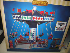 """TRAIN VILLAGE HOUSE """" CARNIVAL ANIMATED COSMIC SWING RIDE """" + DEPT 56/LEMAX info"""
