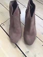 Clarks Suede Mink Ankle Boots Size 7