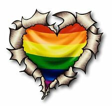 Ripped Torn Metal Look HEART LGBT Gay Pride Rainbow Flag vinyl car sticker decal