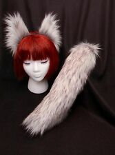 "White-Grey Arctic Fox Wolf Ears-Tail (17"") Set-Long Fashion Faux Fur- or Cat,Dog"