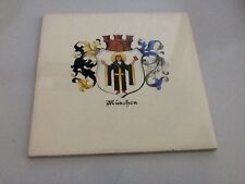 vintage German Hand Painted Tile, Munchen Munich Germany Crown Prince Wilhelm #