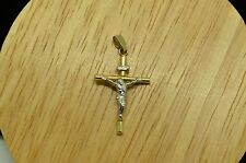 10K YELLOW GOLD CROSS CRUCIFIX PENDANT CHARM W/ WHITE GOLD JESUS