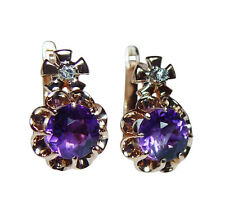 Russian Soviet  Vintage Siberian Amethyst Diamond Earrings 14K Pink Gold USSR