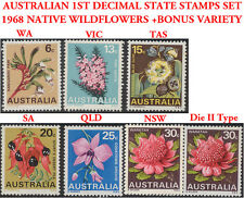 Australian Scarce Mint 1968 Stamps SET State Wildflower Emblems + NSW Die II 30c
