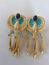 Elizabeth Taylor For Avon Phoenix Egyptian Collection Clip Dangle Earrings VHTF