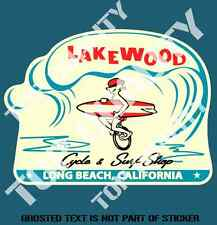 VINTAGE LAKEWOOD SURF DECAL STICKER GREAT WOODY SURFING RAT ROD DECALS STICKERS