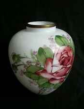 """Vintage Deluxe Inc large blown hand painted milk glass vase, artist signed 9.25"""""""