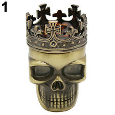 Bronze King Skull Cross Crown 3 Layers Tobacco Herb Spice Grinder Crusher New