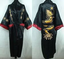 Black Men's Silk/Satin Japanese Chinese Kimono Dressing Gown Bath Robe Nightwear
