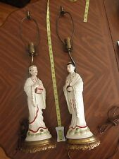 "PAIR Vintage Asian Porcelain 28"" Lamps Chinoiserie China Japan 15"" Fig - wedding"