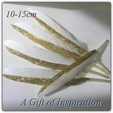 5 x 10-15cm Hand painted GOLD/White Glitter Goose feathers craft/millinery/Decor