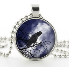 Black Raven Pendant Necklace  Silver Charm - Vintage Bird Moon Picture Jewellery