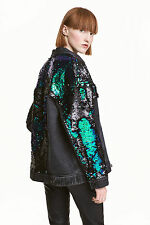 H&M Trend Premium Oversized Sequinned Denim Jacket UK 6 8 EUR 32 34 US 2 4 BNWT
