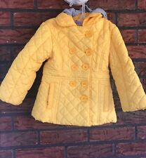 Infant Girls 2T 24 Months Yellow Quilted Peacoat Jacket Detachable Gray Hoody