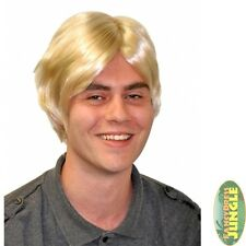 RETRO GLAM BOY BAND BLONDE SIDE PARTING SHORT WIG - mens fancy dress accessory