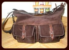 Beautiful Frances Cobiasia Suede & Cracked Brown Leather Hippy Style Large Bag