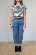 VTG 90s Grunge Blue Pleated Tapered Carrot High Waisted Mom Jeans UK 6 34 NWT