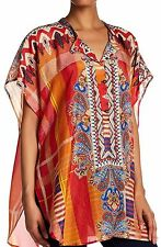 $220 NWT Johnny Was Perro 100% Silk Long Poncho Tunic Top Shirt L XL XXL 1X