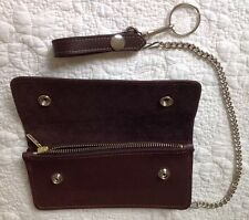 USA MADE Thick Real Cowhide - DK BROWN Leather Trucker Biker Chain Wallet Zipper