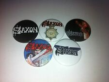 5 Saxon Button badges 25mm Wheels of Steel Heavy Metal Thunder Dio UK Rock