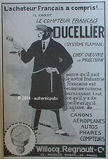 PUBLICITE DUCELLIER COMPTEUR FRANCAIS AEROPLANE PHARE AUTO CANON DE 1913 AD PUB