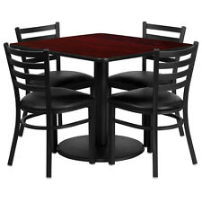 "Restaurant Table Chairs 36"" Square Mahogany Laminate with 4 Ladder Back Metal"