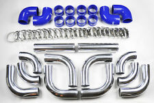 "Universal High Quality 2.5"" Polished Intercooler 12pc Piping Kit Aluminum Blue"