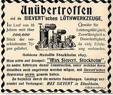 Max Sievert Stockholm  SIEVERT`schen LOETHWERKZEUGE Historische Reklame von 1899