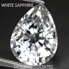 NATURAL WHITE SAPPHIRE 10x7 MM PEAR CUT DIAMOND COLOR