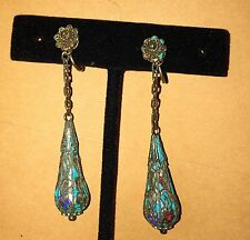 Multicolor Chinese Silver Filligree Kingfisher Vintage 20'S Dangle Earrings!