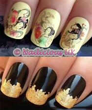 NAIL ART SET #10. GEISHA GIRLS WATER NAIL TRANSFERS/DECALS/STICKERS & GOLD LEAF