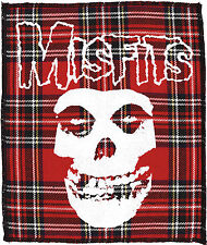 THE MISFITS CRIMSON GHOST SKULL PUNK PSYCHOBILLY GOTH LARGE RED TARTAN PATCH
