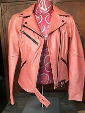 Harley Davidson Pink Leather Biker Motor Cycle Queen Hot Jacket Women M Medium