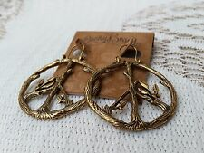 Lucky Brand Bronzetone Tree Branch Peace Sign Drop Hoop Earrings - NEW