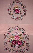 EP 11824 Vintage Floral Bouquet 2pc Chair Seat Set Preworked Needlepoint Canvas