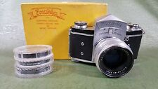Exakta Ihagee VX SLR camera w/Zeiss Jena Biotar 58mm f2 lens, box and more