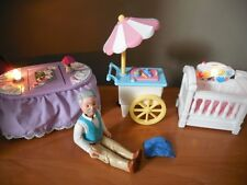 90s FISHER PRICE DREAM DOLLHOUSE LIGHTS SOUNDS TABLE CRIB & ICE CREAM CART 100%