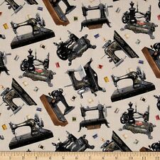 Cream Retro Sewing Machine Fabric A Stitch In Time Elizabeth's Studio-100%cotton