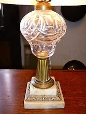 Antique Large Glass Whale/Kerosene/Oil Lamp with Double Marble and Brass Base
