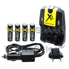 XIT 4 AA Ultra High Capacity Batteries With AC/DC Travel Turbo Charger