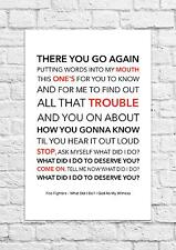 Foo Fighters - What Did I Do? / God As My Witness - Song Lyric Art Poster - A4