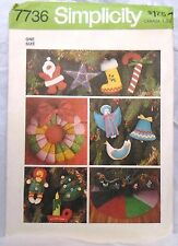 SIMPLICITY Sewing Pattern # 7736 Felt Christmas Decorations UNCUT With Transfer